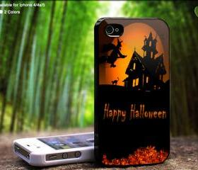 Happy Halloween Witch Flying On - Case For iPhone Case, iPhone 4, Case, iPhone 4S, iPhone 5, Hard Cover