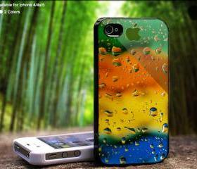 Colorful Rain Drops Water With Logo Apple Case For iPhone Case, iPhone 4, Case, iPhone 4S, iPhone 5, Hard Cover
